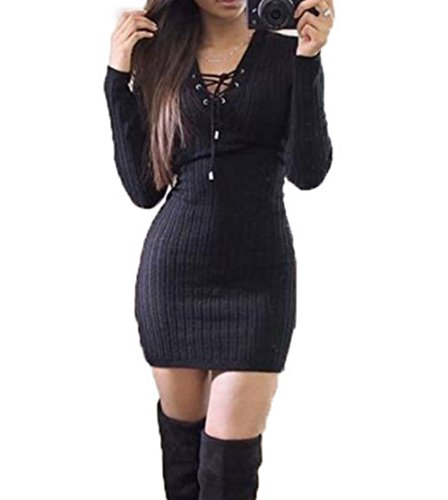 Women Sexy V Neck Lace Up Front Bandage Pullover Sweater Mini Dress (S, Black)