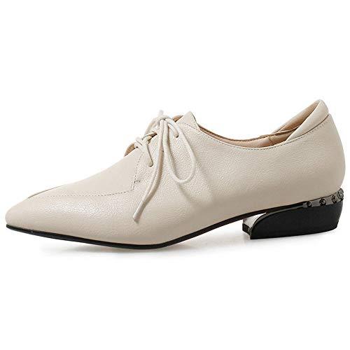 Oxford Clasico para Tacón Beige Colegio de Mujer con Cordones Chicas Plano Cuero Zapatos qvfxYz6w