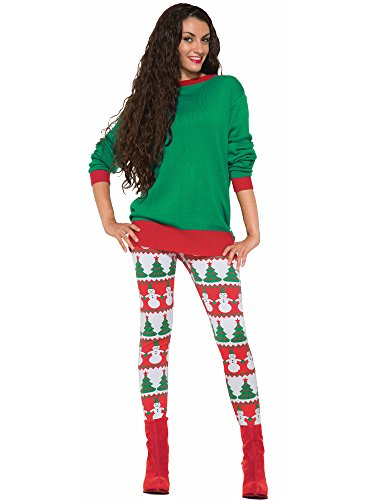 Forum Novelties Women's Snowman and Christmas Tree Adult Leggings, Multi, One Size