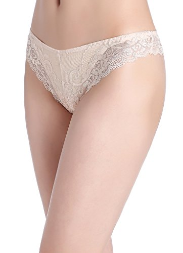 InsBuy Women's 5 Pack Floral Lace Stretchy Bikini Panties Size XL (White Lacy Panties)