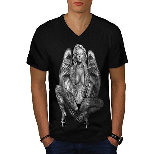 Marilyn Monroe Tattoo Gangster Men NEW M V-Neck T-shirt | (Famas Assault Rifle)