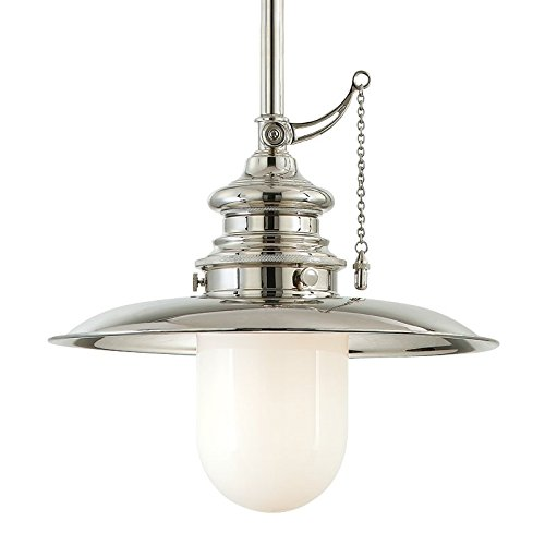 - Kendall 1-Light Pendant - Polished Nickel Finish with Opal Glossy Glass Shade
