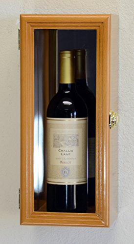 Single Wine Bottle Wall Display Case Cabinet Holder with Mirror Back Holds Bordeux Cabernet Burgundy Pinot Champagne Magnum Bottles (Oak Finish)