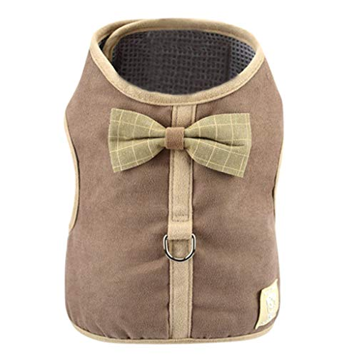 ABCOnline Pet Dog Puppy Corduroy Mesh Vest with Adjustable Leash Chest Straps Belt Cute Bow Costume Apparel for Small Dogs