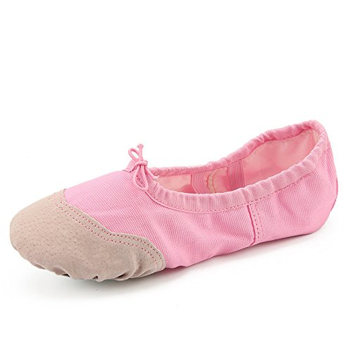 Handmade Ballet Shoes Toe Protection Comes with Insoles Cotton Canvas Dance Gymnastics Yoga Shoes for Toddlers/Kids/Girls/Women (10.5M, Pink) -