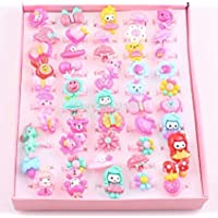 Trendy Tap Cute Cartoon Finger Rings for Girls Gifting in Assorted Colors (Pack of 10 Rings in Assorted Colour and Design)