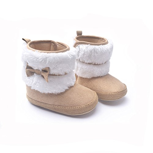 Infant Baby Girl Shoes (LIVEBOX Baby Girls' Premium Soft Sole Bow Anti-Slip Mid Calf Warm Winter Infant Prewalker Toddler Snow Boots (M: 6~12 months, Khaki) …)