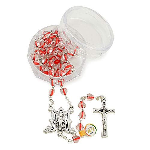 Red Crystal Heart Beads Rosary