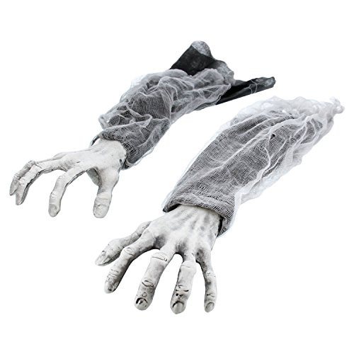 Halloween Haunters Creepy Groundbreaker Arms Hands Graveyard Prop Decoration - Rising Scary Zombie Fingers