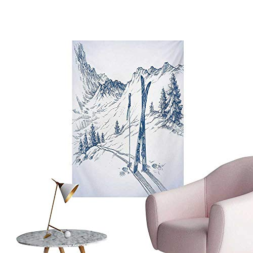 (Anzhutwelve Winter Wallpaper Sketchy Graphic of a Downhill with Ski Elements in Snow Relax Calm ViewBlue White W32 xL36 Cool Poster)