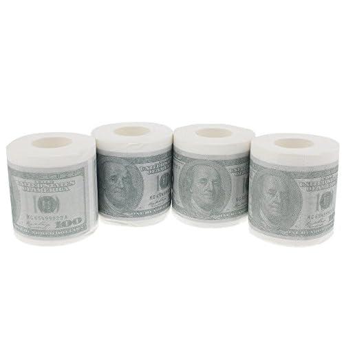 70%OFF Novelty Toilet Paper - Fake Dollar Toilet Paper $100 Dollar Bill Funny Toilet Tissue - 4 Rolls