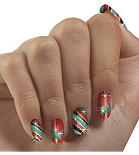 Christmas Faux Nails - Set of 24, Holiday Themed Artificial Nails