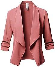watersouprty Womens Casual Blazer Jacket Long Sleeve Open Front Office Suit Cardigan Coat