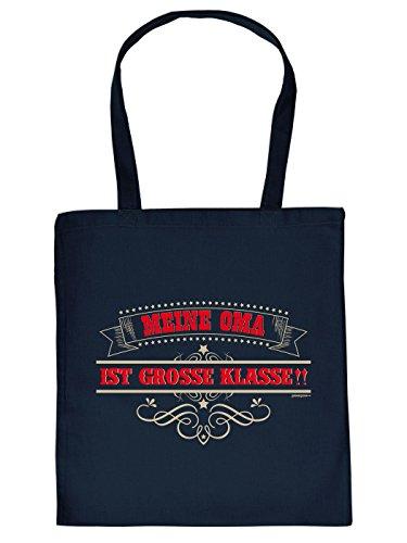 Stofftasche mit lustigem Motiv - Oma ist große Klasse - lustig bedruckte Umhängetasche für Omas mit Humor - Baumwolltasche Tragetasche mit witzigem Spruch