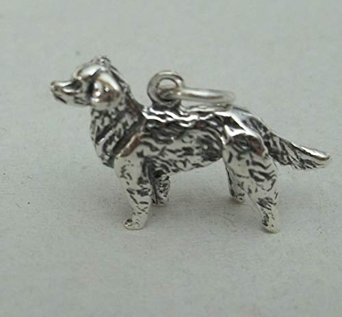 Sterling Silver 3D 15x24mm 4.5gram Golden Retriever Dog Charm Jewelry Making Supply, Pendant, Sterling Charm, Bracelet, Beads, DIY Crafting and Other by Wholesale Charms