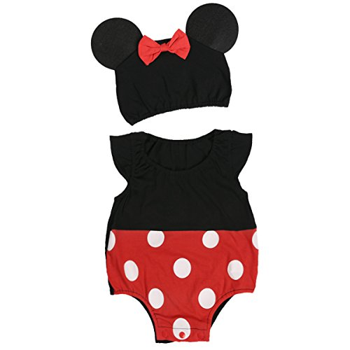 dPois Baby Boys Girls' Cartoon Cosplay Fancy Dress Up Outfits Polka Dots Ruffled Sleeves Romper with Hat 2Pcs Set Black&Red with Bowknot Hat 3 Months -