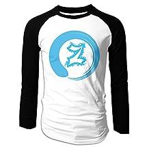 Men's Zen Long Sleeve O Neck Raglan Baseball T Shirt Black
