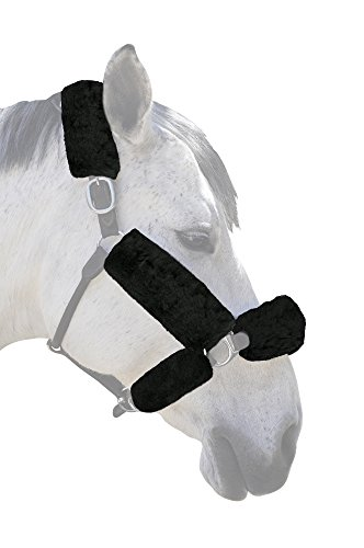 ECP Merino Sheepskin Halter Fleece Set for Horse Protection and Relief, 6 Pieces Black