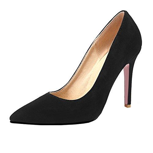UH Bout à Talons Plateforme Sandales sans Femmes Classique Aiguilles Elegantes Haut Noir Pointu et fTxrTIAwEq