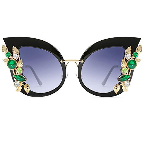 Slocyclub Womens Oversized Cat Eye Jeweled Sunglasses Stylish Design with Diamond