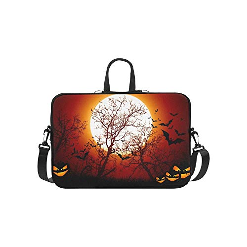 Trees Scary Night Shadow Halloween Stock Photo Pattern Briefcase Laptop Bag Messenger Shoulder Work Bag Crossbody Handbag for Business -