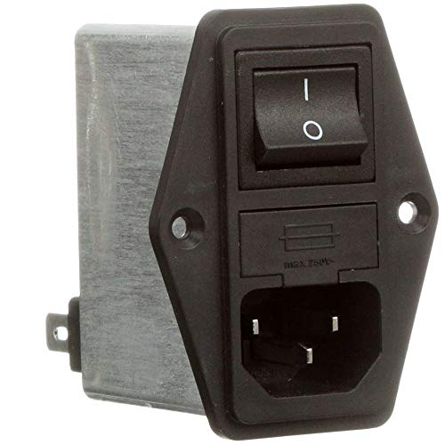 Power Entry Module; SINGLE PHASE IEC; 10 A; Fuse Holder; FAST ON; FN280 Series, Pack of 2 by Schaffner (Image #1)