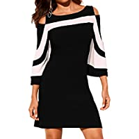 HannahZone Women's Cold Shoulder 3/4 Sleeve Tunic Top Swing T-Shirt Dress
