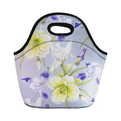 (Semtomn Lunch Bags Green Blue Vintage Floral Watercolor Iris Daylily Colorful Bloom Neoprene Lunch Bag Lunchbox Tote Bag Portable Picnic Bag Cooler Bag)
