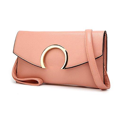 Mujer PU de Gama Alta Clásico Portátil Bolso De Hombro Inclinado Solo Bolso De Hombro Bolso Pink
