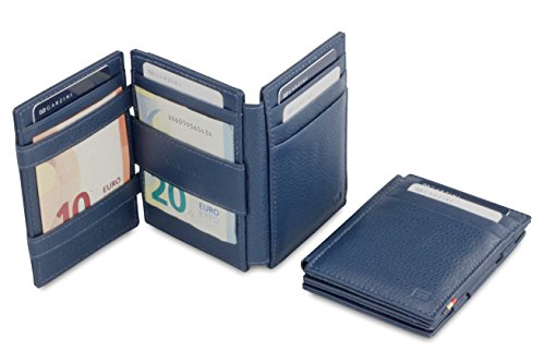 Magic Leather Magistrale Nappa Plus Garzini Blue Navy RFID Wallet aAqwxaFd