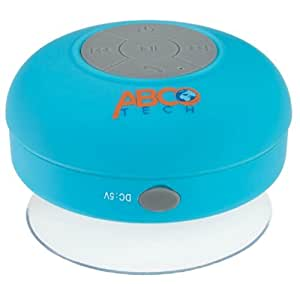 Abco Tech Water Resistant Wireless Bluetooth Shower Speaker with Suction Cup and Hands-Free Speakerphone, Aqua