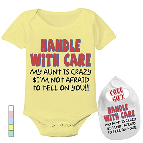- Handle with Care My Aunt is Crazy - Cute Custom Boutique Baby Bodysuit Onesie & Matching bib