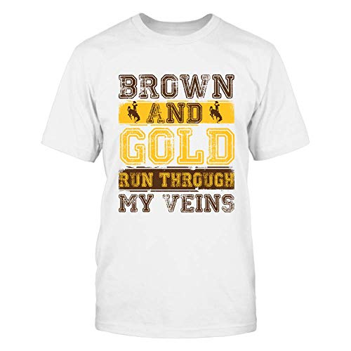FanPrint Wyoming Cowboys T-Shirt - Brown and Gold - Men's Tee/White / 3XL