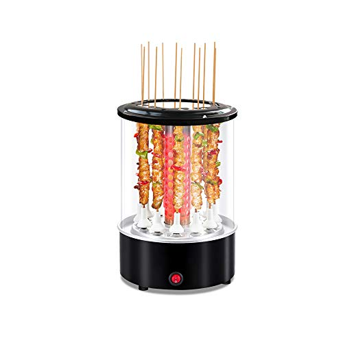 Li Bai Vertical Rotisserie Roaster Oven Smart Electric BBQ Grill Smokeless Automatic Rotating Kebab Machine Countertop Kabob Grill Up to 300°F 1100W Includes 50 Sticks and Removable Parts
