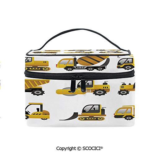 Printed Makeup Bag Organizer toiletry bag Big Vehicles Icon Collection Engineering Building Theme Clip Art Style Decorative for Girls Ladies ()