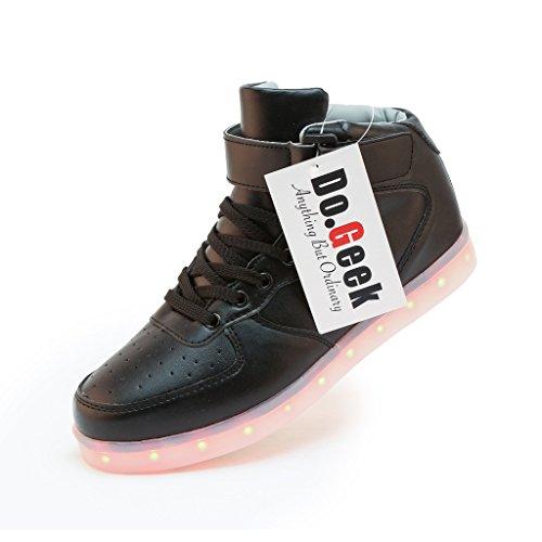 DoGeek Light Up Shoes Men Women LED Shoes Shining Sneakers (Choose One Size up) Black2
