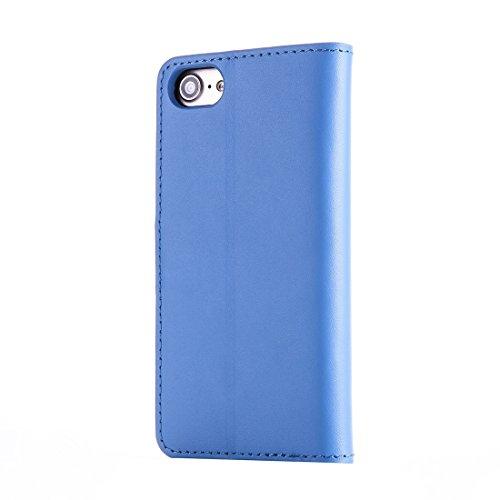 Mobile protection Para el iPhone 7 Caja de cuero genuino del tirón horizontal con el sostenedor y las ranuras para tarjeta y la carpeta ( Color : Black ) Blue