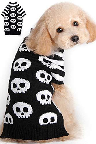 BOBIBI Pet Holiday Halloween Skull Pet Clothes Dog Sweater -Black