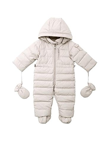 Oceankids Baby Boys Girls Beige Pram One-Piece Snowsuit Attached Hood 24M 18-24 Months by OCEANKIDS