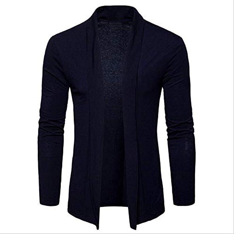 FGHSD Męskiepullover Męskie Solid Color Shawl Sweater Męskiemode Thin Coat Coat Cardigan Męskie Langarmpullover Sweater Top M Navy: Odzież
