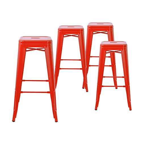 Buschman Set of Four Red 30 Inches Bar Height Metal Bar Stools, Indoor/Outdoor, Stackable