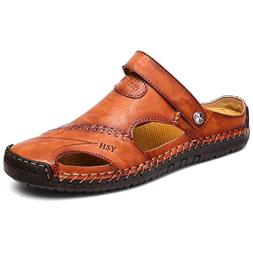 YING LAN Men's Casual Leather Fashion Sandals Closed Toe Outdoor Fisherman Hiking Shoes Lightweight Summer Water Shoes Red-Brown 7 M US ()