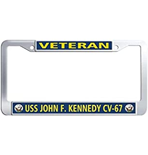 "Proudly Served On USS JOHN F KENNEDY CV 67 License Plate Frame Plastic 12/"" X 6/"""