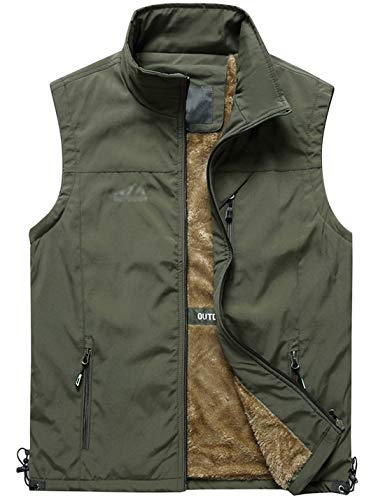(Jenkoon Men's Casual Lightweight Outdoor Travel Fishing Hunting Vest Jacket with Pockets (Olive Green-03, Large) )