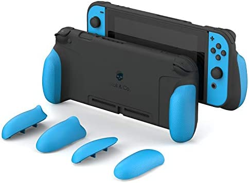 Skull & Co. GripCase: A Dockable Protective Case with Replaceable Grips [to fit All Hands Sizes] for Nintendo Switch [No Carrying Case]- Double Neon Blue