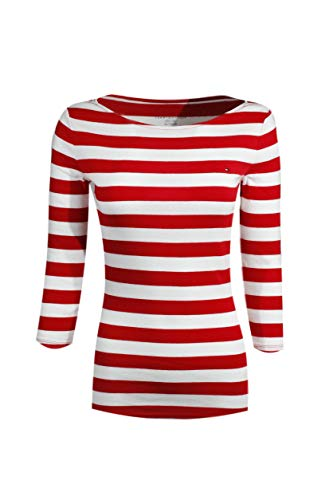 Sleeve Hilfiger 3/4 Tommy - Tommy Hilfiger Womens 3/4 Sleeve Boat Neck T-Shirt (X-Small, White/Red)