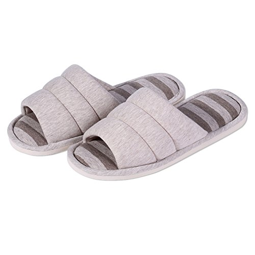 Shevalues Womens Soft Indoor Slippers Open Toe Cotton Memory Foam Slip On Home Shoes House Slippers Grey