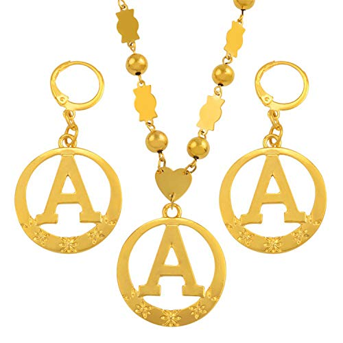 A-Z 60CM Beads Letters Necklaces Gold Color Marshall Initial Alphabet Ball Chain Micronesia Jewelry #128006 ()