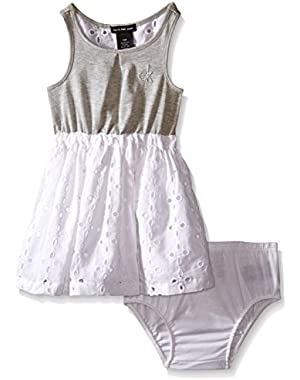 Baby Girls' Jersey Dress with Poplin Eyelet Skirt and Panty