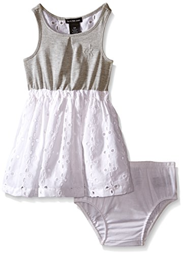 Denim And Poplin Skirt (Calvin Klein Baby Girls' Jersey Dress with Poplin Eyelet Skirt and Panty, Gray, 12)
